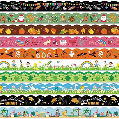 Thanksgiving Christmas Bulletin Board Decorative Trim Border Trim Bulletin Borders Stickers Self-Adhesive Blackboard Border for Classroom School Decoration