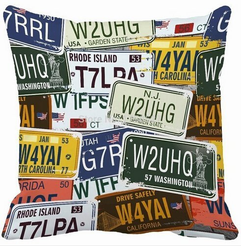 VintaStore High Creative License Plates Home Decorative Throw Pillowcase Zippered Square Twin Side Printing