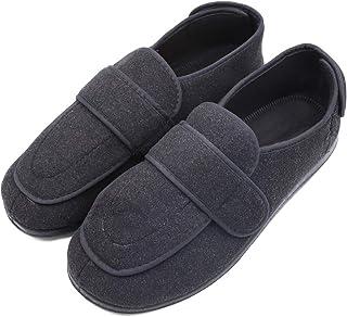 Men's Extra Wide Width Diabetic Recovery Slippers, Adjustable Closures Swollen Feet Arthritis Edema Orthopedic Footwear, Indoor/Outdoor Walking Shoes