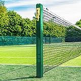 Vermont Postes de Tenis Cuadrados | Postes Fijos de Sección Cuadrada – Homologados por la ITF (Casquillos de Fijación Opcionales) (Verde, con Casquillos)