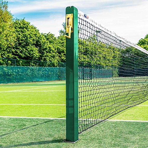 Vermont Postes de Tenis Cuadrados | Postes Fijos de Sección Cuadrada – Homologados por la ITF (Casquillos de Fijación Opcionales) (Verde, con Casquillos) ✅