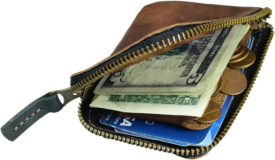 Hide & Drink, Leather Zippered Card Wallet, Holds Up to 8 Cards Plus Folded Bills & Coins, Cash Organizer, Everyday Accessories, Handmade Includes 101 Year Warranty :: Bourbon Brown