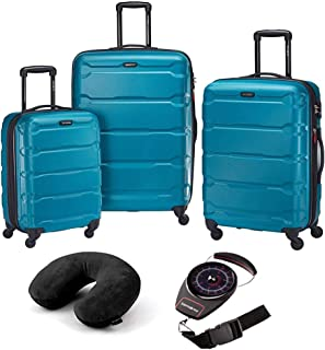 68311-2479 Omni Hardside Luggage Nested Spinner Set (20 Inch, 24 Inch, 28 Inch) - Caribbean Blue Bundle with Microbead Neck Pillow with Travel Pouch and Manual Luggage Scale