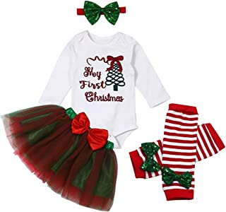 My First Christmas Outfits Baby Girl Clothes Romper + Tutu Tulle Princess Skirts + Leg Warmers + Headband Dress Set