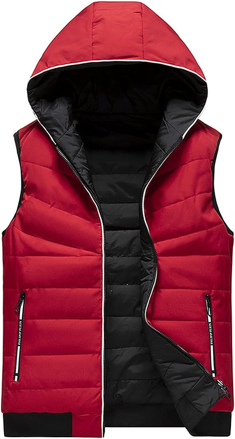 PEHMEA Men's Reversible Lightweight Hoodie Vest Winter Warm Sleeveless Zip Up Padded Waistcoat Jacket