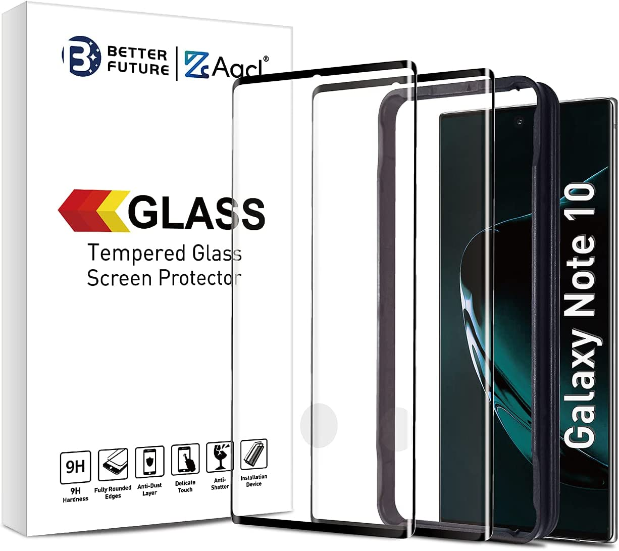 Screen Protector for Samsung Galaxy Note 10,6.3 Inch,Curved Tempered Glass,Compatible with Ultrasonic Fingerprint Scanner,2 Pack,Black