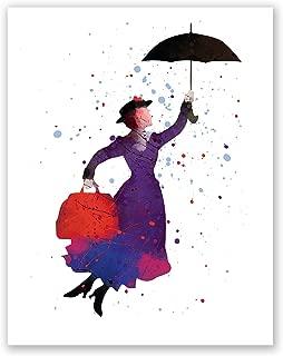 PGbureau Mary Poppins Nursery Poster – Kids Room Print – Children's Wall Art Home Decor – Party Decoration – Watercolor Artwork – Baby Birthday (8x10)