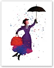 PGbureau Mary Poppins Nursery Poster - Kids Room Print - Children's Wall Art Home Decor - Party Decoration - Watercolor Ar...