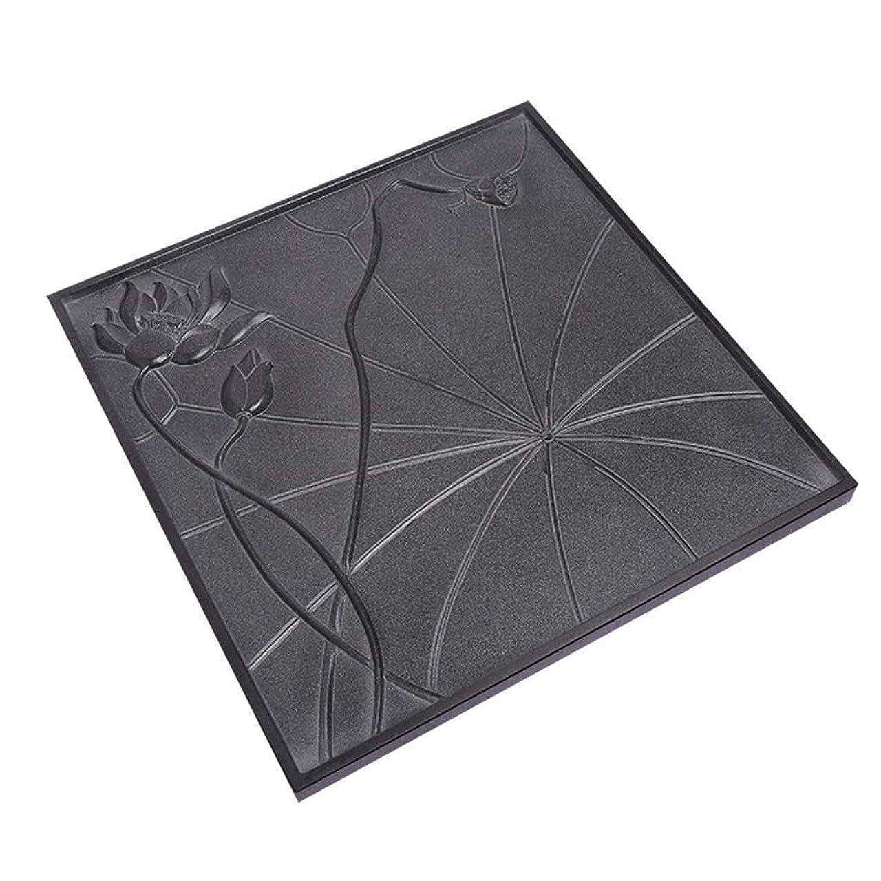 富豪いとこリネン無垢材のティートレイホームシンプルなティーセット長方形の貯水と排水のティーテーブルオフィス用ウッドティーテーブル中国のカンフーティーセット ティー用品 (Color : Black, Size : 50x50x3cm)