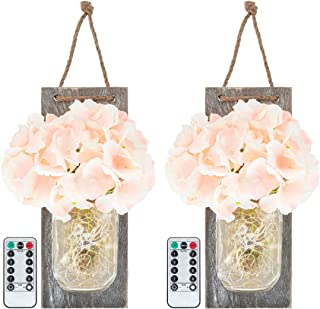 HontiqueCo Rustic Mason jar Wall Sconce with Remote (Pink), Farmhouse Decor, Rustic Wall Decor, Rustic Home Decor, Silk Hydrangea and LED Strip Lights (Set of 2)