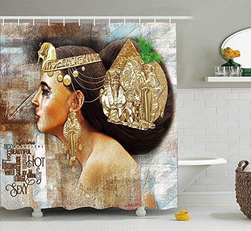 N\A Ägyptische Frau Königin Cleopatra Profil Historische Kunstszene Alte Pyramide Sphinx Multicolor Polyester Stoff Duschvorhang Sets Haken Wasserdicht Mehltau Badezimmer Dekor