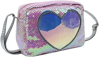 Kid Toddlers Glitter Sequins Crossbody Purse Hologram Heart-shaped Mini Shoulder Handbag for Women Little Girls