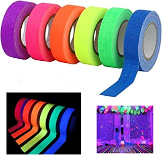 6 Pack UV Blacklight Reactive Fluorescent Cloth Tape Glow in The Dark Neon Gaffer Tape Birthday Christmas Party Supplies