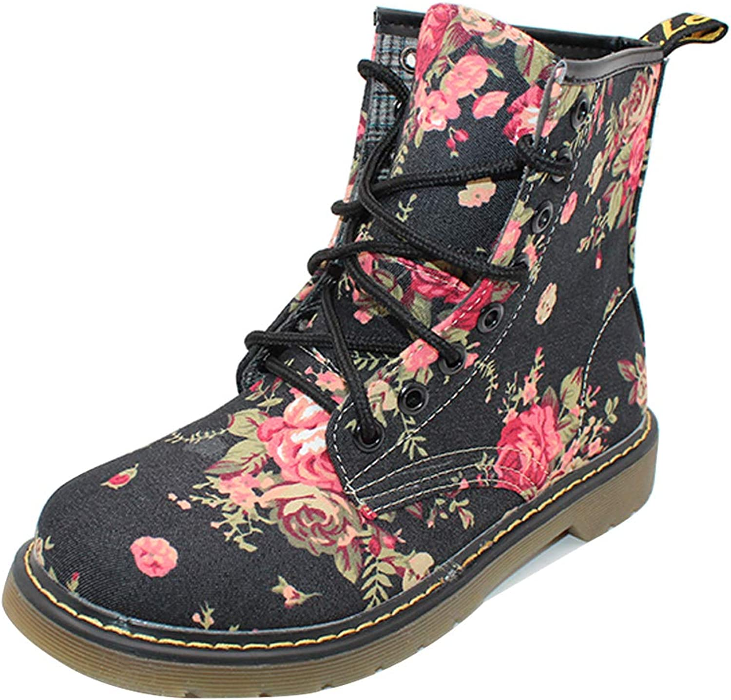 Uirend shoes Women Boots Mid Calf - Retro Ladies Flowers Floral Print Martin Lace-Up shoes Combat Ankle Boot Oxfords Flat
