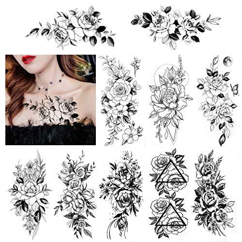 HOWAF 10 hojas de tatuajes de flores peonía rosas tatuajes temporales adultos mujeres impermeable negro tatuaje flor niñas dama tatuajes falsos brazo Tatuajes adhesivos sexy hombro pecho