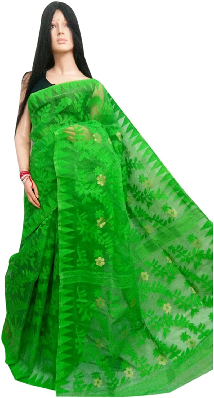 Ethnic green Handloom Dhakai Jamdani Sari weaving work Bengal Women sari Indian Festive saree 105 2