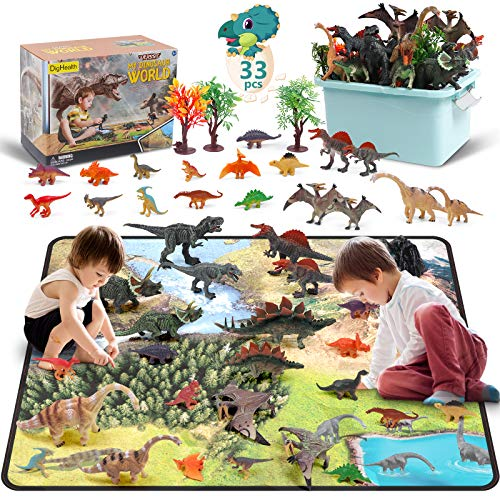DigHealth 33 PCS Dinosauro Giocattolo, Figure di Dinosauro con Tappetino da Gioco e Alberi per Creare Un Jurassic World, Compreso T-Rex, Triceratopo, Pterosauria per Bambini