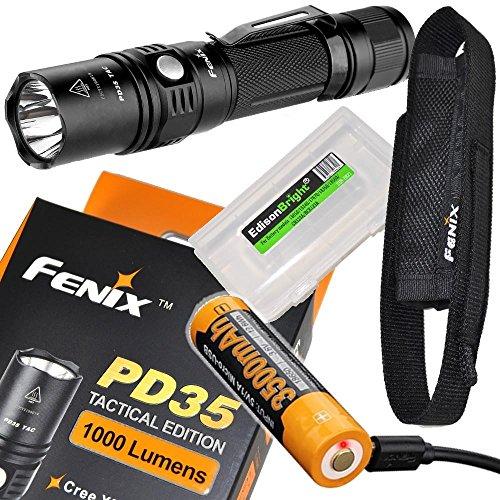 Fenix Bundle PD35 TAC 1000 Lumen 2018 CREE LED Tactical Flashlight USB Rechargeable 18650 ARB-L18-3500U Li-ion Battery and EdisonBright BBX3 Battery case