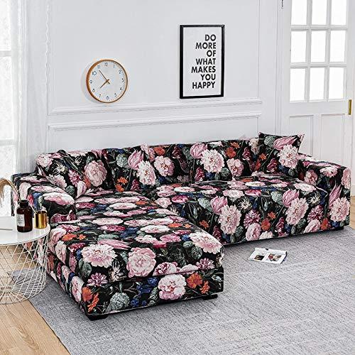 WXQY Funda de sofá con Estampado Floral, Esquina de Asiento, sofá Chaise Longue en Forma de L, Funda de sofá elástica, Funda de sillón A16, 2 plazas