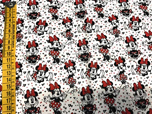 tela de disney minnie corazones 100% algodón 1 mts x 140 cms