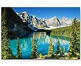 Paul Sinus Art Leinwandbilder | Bilder Leinwand 120x80cm kanadische Berge um einen Fluss