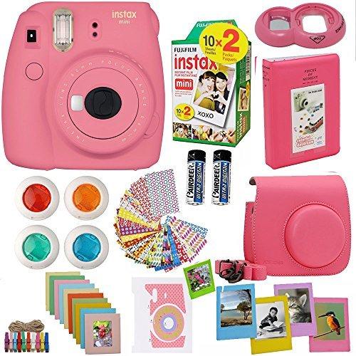 Fujifilm Instax Mini 9 Instant Camera Flamingo Pink + Fuji Instax Film Twin Pack (20PK) + Camera Case + Frames + Photo Album + 4 Color Filters and More Top Accessories Bundle