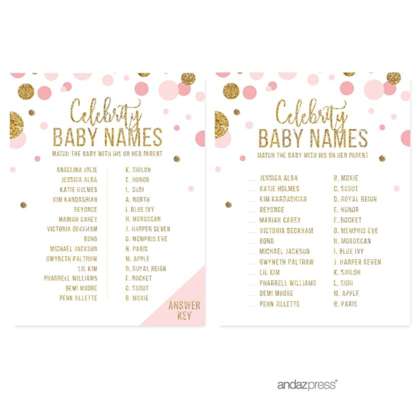 Andaz Press Blush Pink Gold Glitter Girl Baby Shower Party Collection, Games, Activities, Decorations, Celebrity Name Game Cards, 20-pack