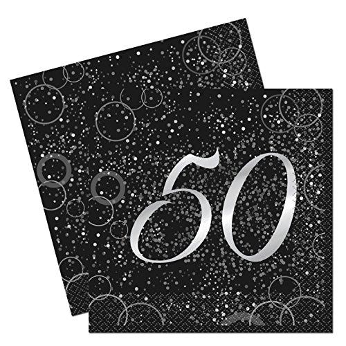 Unique Papierservietten mit Foliendruck für den 50. Geburtstag,silber,16er pack