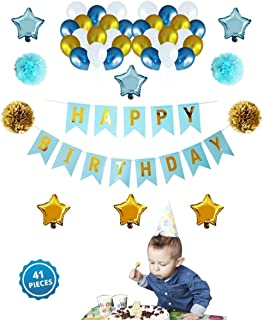 OSG Crafters Happy Birthday Banner with 30 HD Metallic Balloons in (Blue,White and Gold)+ Star Shaped Foil (Blue and Gold) + 4 Paper Flowers (Blue and White Colours)