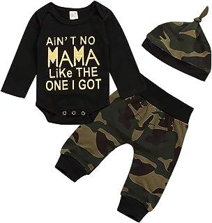 Xuefoo Baby-Kleidungsset für Jungen, Baseball-Druck, langärmeliger Body  Hose, Camouflage-Strampler Gr. 62, Schwarz-4