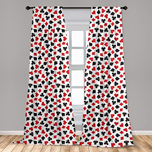 """Lunarable Poker Window Curtains, Heart Spades Diamonds and Clubs Pattern in Playing Card Suit Themed Illustration, Lightweight Decorative Panels Set of 2 with Rod Pocket, 56"""" x 84"""", Black White"""
