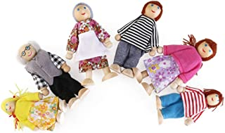 NUOBESTY 6pcs Happy Family Dollhouse Set Award Winning Doll Family Set Unique Accessory for Kids Wooden Dolls House Imagin...