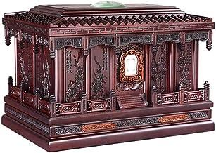 JCCOZ-URG Red Sandalwood Moisture-Proof Box Urn Keepsake for Ashes Cremation Urn Keepsake for Human Ashes with Plum, Orchi...