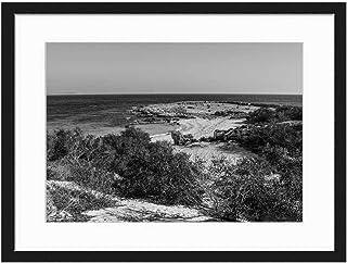 Wood Framed Canvas Artwork Home Decore Wall Art (Black White 20x14 inch) - Cyprus Ayia Napa Makronissos Beach Sand Sea Resor
