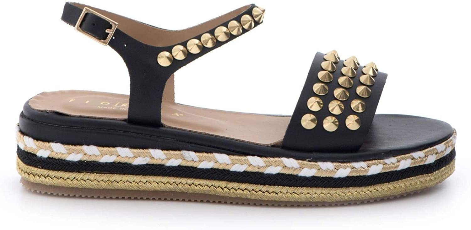 FIORINA - Sandals in schwarz Leather with Rope and Studs - S164 CP400VITELLO schwarz