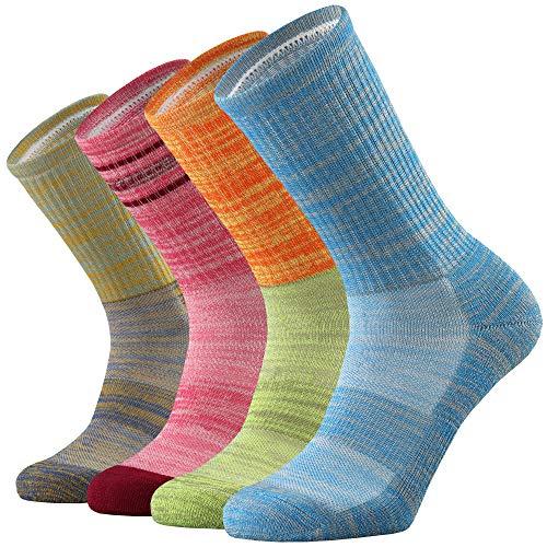 ONKE Women's 4 Pack of Merino Wool Thermal Outdoor Hiking Trail Cushion Crew Socks(Multicolor4)