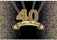 新しい2.1x1.5mポリエステル背景40歳の誕生日の背景キラキラスパンコール光線キツネパーティー写真スタジオの小道具の写真のための金黒の背景