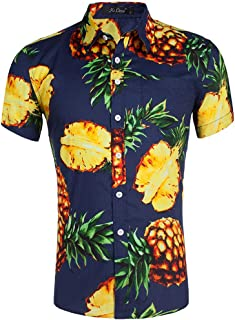 Men Beach Shirt Cotton Hawaiian Print Shirt Slim Short Sleeve Casual Shirt