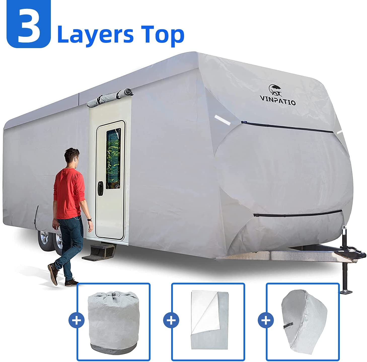VINPATIO Thick 3 Layers store Travel Waterproof Cover Anti-UV Now free shipping Trailer