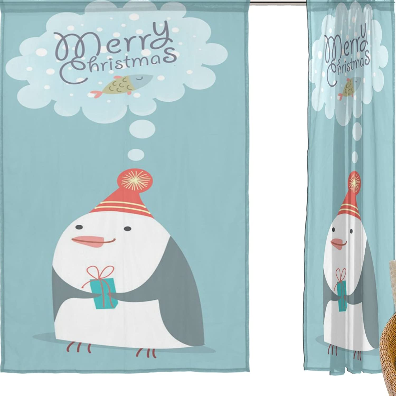 mas barato Jstel feliz Navidad 2pcs Voile cortina de ventana, Navidad Navidad Navidad de la historieta azul pingüino, de tul pura cortina Drape cama 55x 78(dos paneles Set, poliéster, azul, 55x84x2(in)  mas preferencial