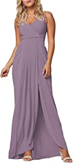 2021 V Neck Bridesmaid Dresses for Women Long A-Line Chiffon Plus Size Formal Go