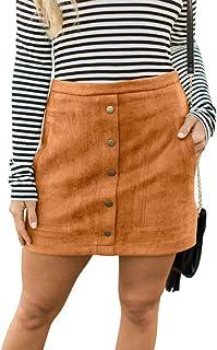Susupeng Women High Waist Soft Faux Suede Button Down Skirt Slim Back Zip Side Pocket Mini Skirts