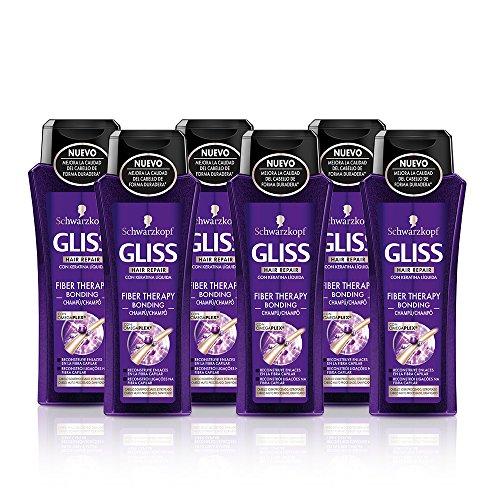 Gliss - Champú Fiber Therapy - 250ml (pack de 6) Total: 1500ml