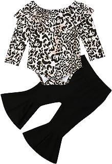 Niños Bebé Niña Conjunto De Ropa De Leopardo De Manga Larga Mameluco Mono Acampanado Pantalones Otoño Invierno Trajes