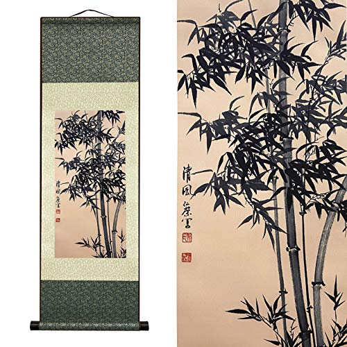 AtfArt Asian Wall Decor Beautiful Silk Scroll Painting Bamboo Leaf Plant - Ancient Bamboo Oriental Decor Chinese Art Wall Scroll Wall Hanging Painting Scroll (39 x 12 in)