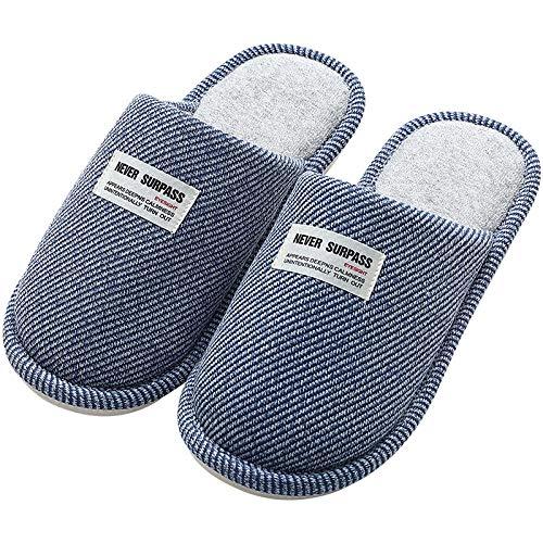 B/H Winter Warm Indoor Pantoffeln,Personalisierte Hausschuhe aus Warmer Baumwolle für den Innenbereich,Hausschuhe für das Winterpaar-Blue_44-45,Weiche Leicht Baumwolle Slippers
