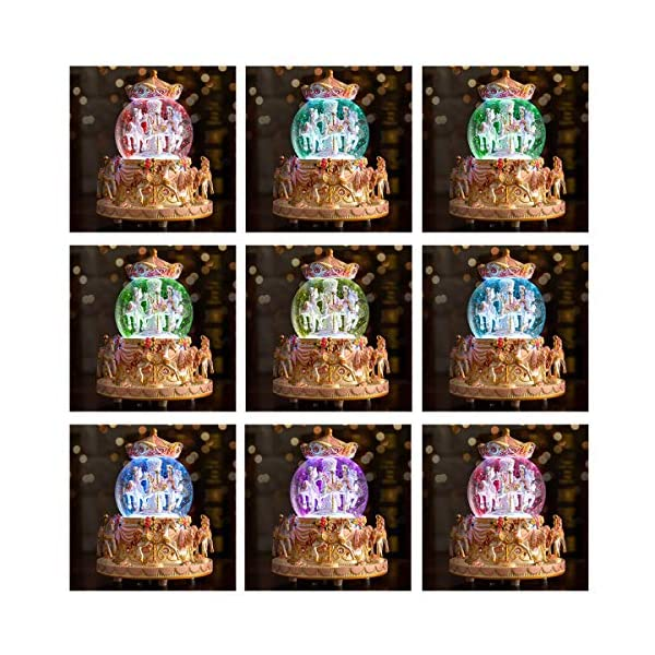Carousel Snow Globe Music Box - 8 Horse Blue Snowglobe Anniversary Christmas Birthday Gift for Wife Daughter Girlfriend… 5