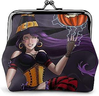 Halloween Witches Ride Broomsticks Sexy Pumpkins Vintage Pouch Girl Kiss-Lock Change Monedero Carteras Hebilla Monederos de Cuero