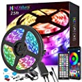 25ft LED Strip Lights, APP Control Music Sync Color Changing LED Light Strip, SMD 5050 RGB LED Tape Lights with IR Remote (APP+Remote+Mic+3-Button Switch).