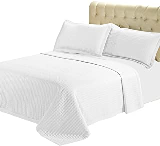 sheetsnthigns 7- Pcs Bed Spread Set- Queen -White-Checkered Quilted Wrinkle-Free Microfiber includes 3-Pcs Coverlets Set a...